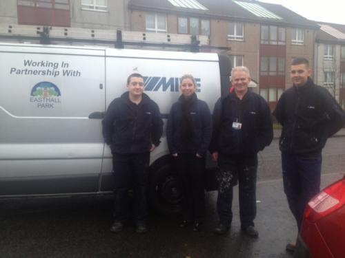 Easthall Park and two MITIE apprentices